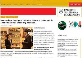 ARMENIAN AUTHORS' WORKS ATTRACT INTEREST IN INTERNATIONAL LITERARY MARKET